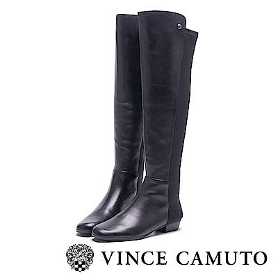 VINCE CAMUTO 異材質拼接彈力素面長靴-黑色