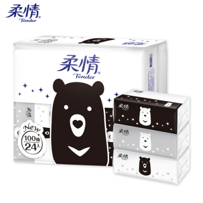 [限時搶購]柔情抽取式衛生紙100抽x24包x3袋-熊熊經典款
