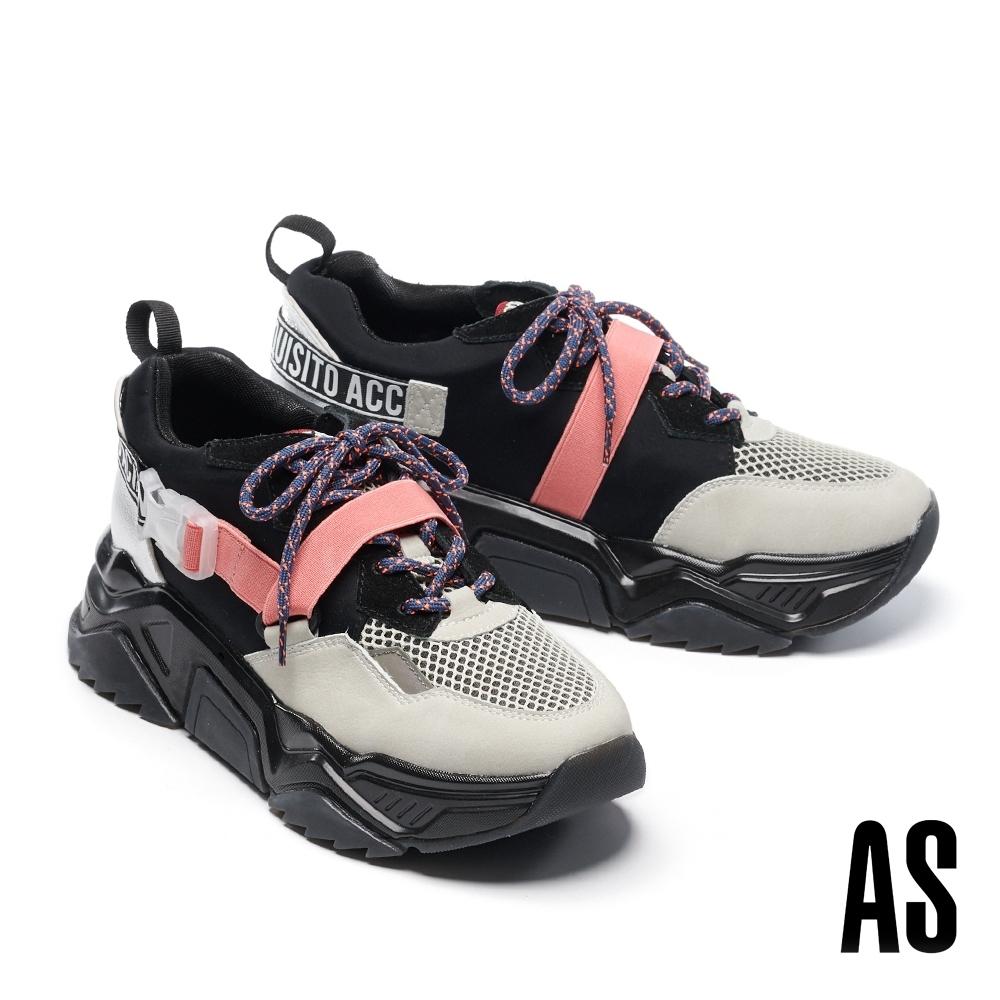 休閒鞋 AS 街頭潮流異材質撞色拼接鋸齒厚底綁帶老爹休閒鞋-黑
