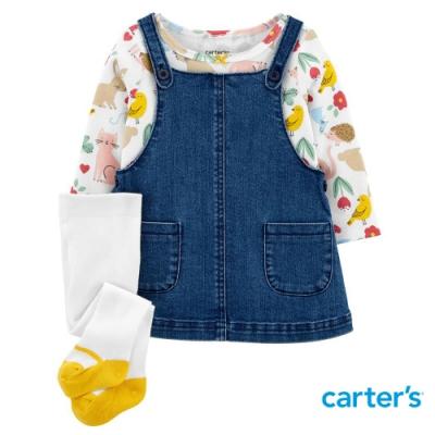 【Carter s】繽紛森林3件組套裝(6M-24M) (上衣/吊帶裙) (台灣總代理)