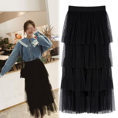 【韓國K.W.】(預購)簡約時尚網紗裙-1色