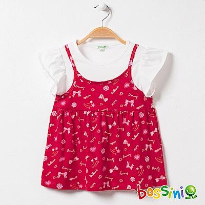 bossini女童-假兩件式吊帶T恤02暗紅