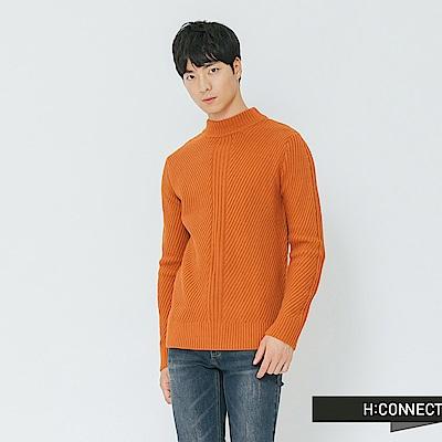 H:CONNECT 韓國品牌 男裝-簡約坑條針織上衣-黃
