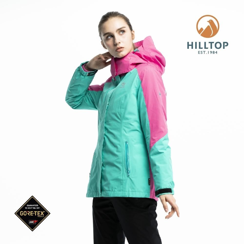【hilltop山頂鳥】女款GORE-TEX三合一羽絨拆袖短大衣F22FZ7水池綠