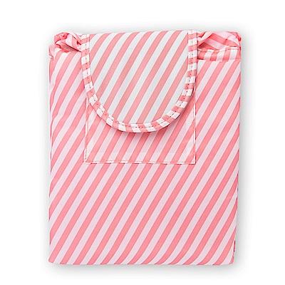 旅遊首選 懶人收納袋 大容量 抽繩 化妝包 束口袋 收納包 洗漱包(粉色條紋)