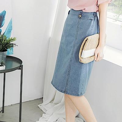 高含棉後腰鬆緊側釦設計牛仔中裙-OB嚴選