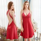 大尺碼氣質酒紅色緞面繞頸美背性感睡衣 紅 L-2L Annabery
