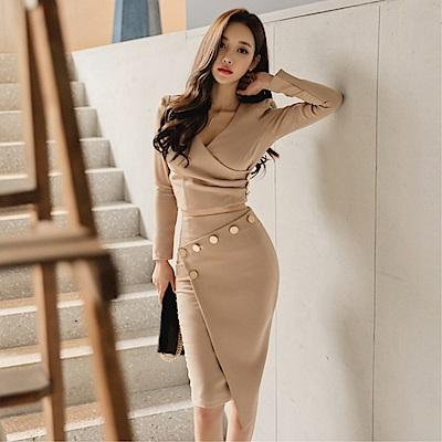 DABI 韓系時尚氣質V領上衣修身包臀裙套裝長袖裙裝