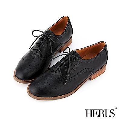HERLS 英倫學院 內真皮雕花沖孔圓頭牛津鞋-黑色