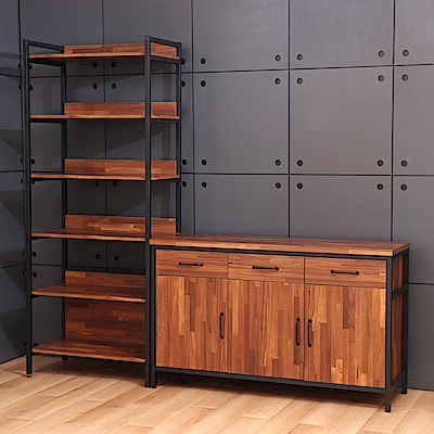 D&T德泰傢俱格萊斯積層木工業風收納展示架+4.5尺餐櫃-216.2x45.3x196cm