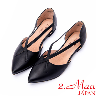 2.Maa 女神顯瘦牛皮簍空尖頭包鞋 - 純黑