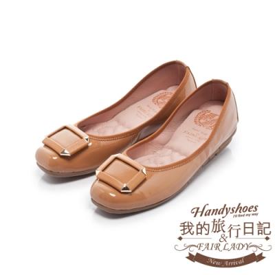 FAIR LADY 我的旅行日記金屬撞色方釦方頭平底鞋-增高版 蜜橙