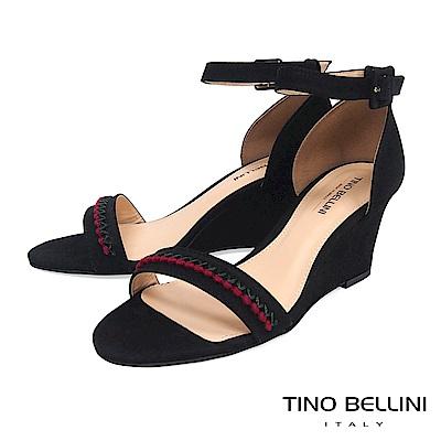 Tino Bellini 巴西進口典雅繡花繫踝楔型涼鞋 _ 黑
