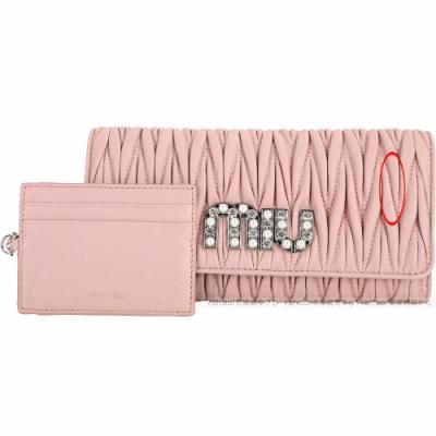 miu miu Matelasse 展示品 水晶字母粉色羊皮附證件套長夾(証夾壓痕刮傷、正皮右破皮)