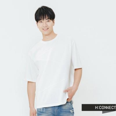 H:CONNECT 韓國品牌 男裝-交錯拼接感上衣-白