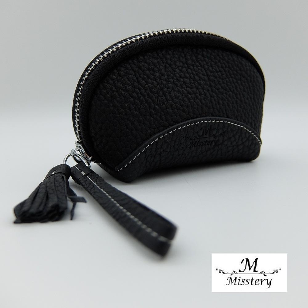 【Misstery】零錢包進口牛皮貝殼造型小巧零錢包-黑(進口牛皮款式)