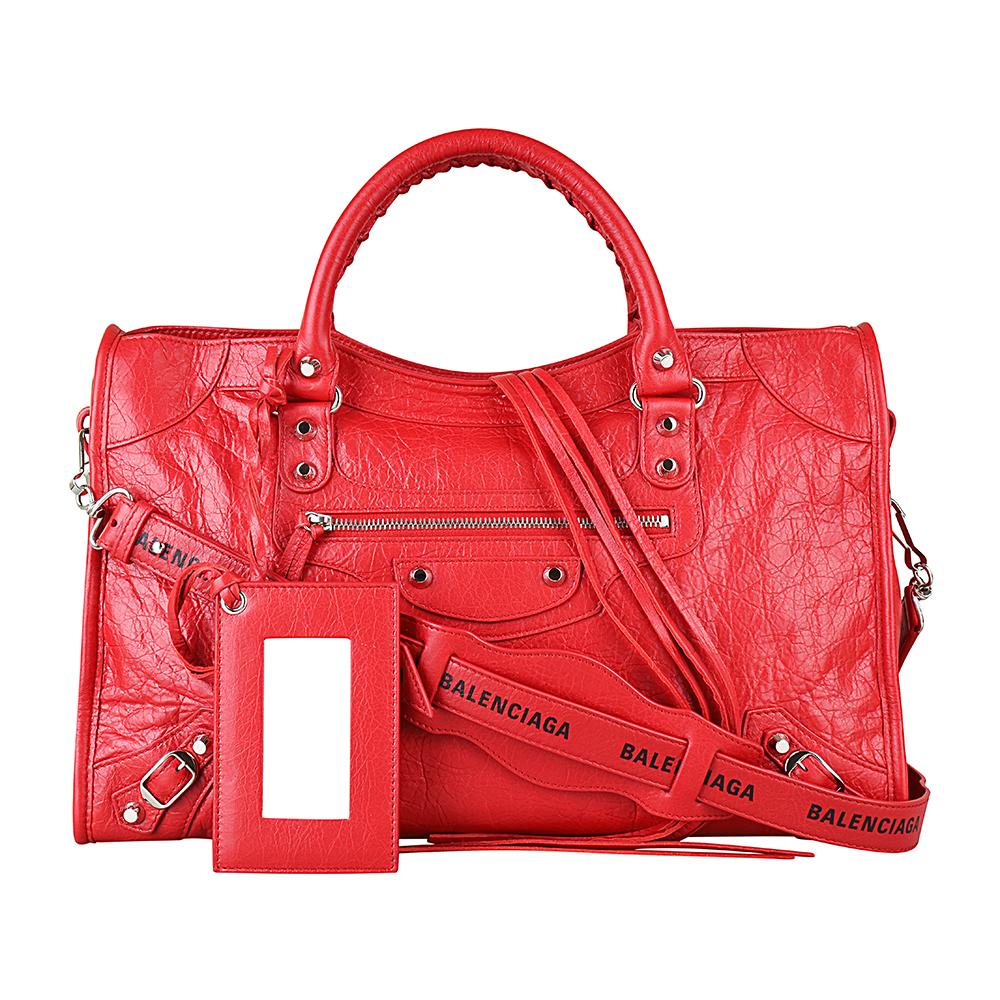 BALENCIAGA巴黎世家CITY系列印花LOGO小羊皮銀釦手提斜背機車包(紅) @ Y!購物