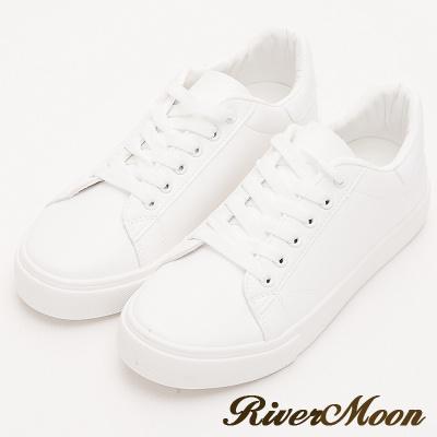 River&Moon小白鞋- 超激瘦不對襯塗鴉厚底小白鞋-貓咪