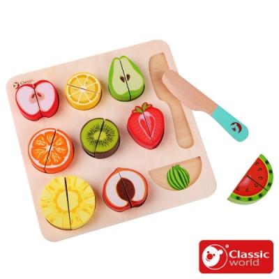 【德國 classic world 客來喜經典木玩】水果切切拼板《5012》