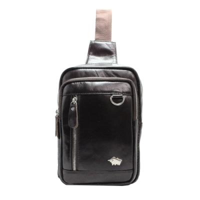 DRAKA 達卡 - Victory系列 - 方形牛皮斜背側背胸包-深咖啡