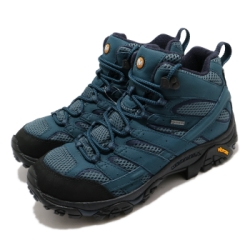 Merrell 戶外鞋 Moab 2 Mid GTX 男鞋 登山 越野 耐磨 黃金大底 防潑水 藍 黑 ML034801