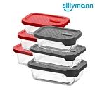 【韓國sillymann】 長方型三件組-100%鉑金矽膠微波烤箱輕量玻璃保鮮盒組