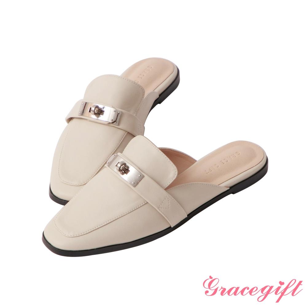 Grace gift-金屬飾釦平底穆勒鞋 米白