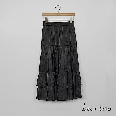 beartwo - 珠光波浪蛋糕長裙 - 黑