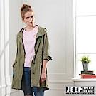 JEEP 女裝 美式時尚修身襯衫式外套-軍綠