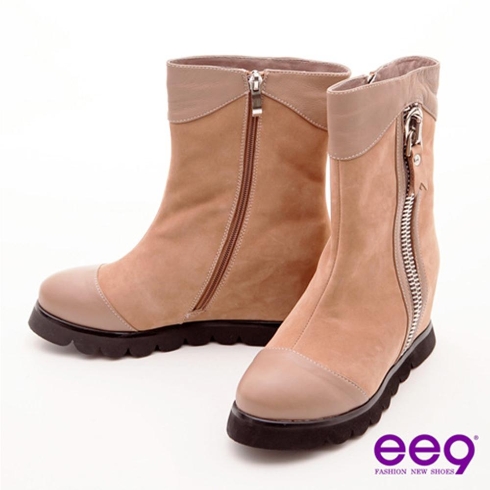 ee9 俏皮甜心 巨無霸拉鍊裝飾包頭寬口中筒靴 可可