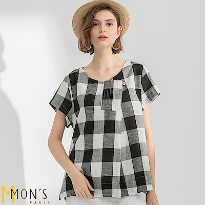 MONS   品味生活寬格紋短袖上衣