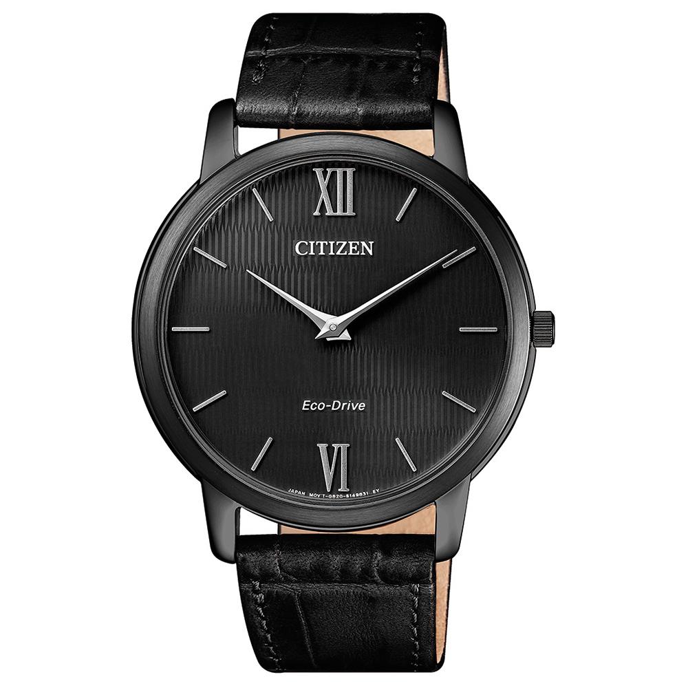CITIZEN  紳士品味藍寶石光動能石英腕錶(AR1135-10E)-黑/39mm