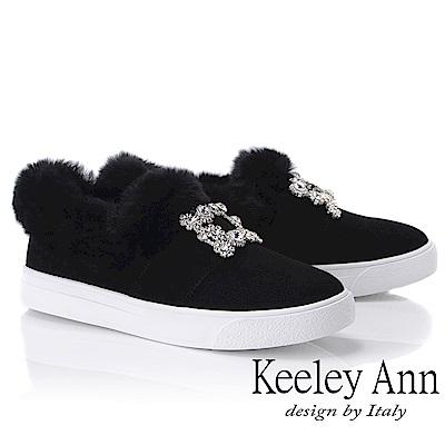 Keeley Ann 璀璨光芒~冬季毛茸方型飾釦水鑽休閒鞋(黑色-Ann)