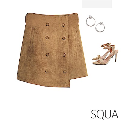 SQUA 燈芯絨排扣短裙-二色