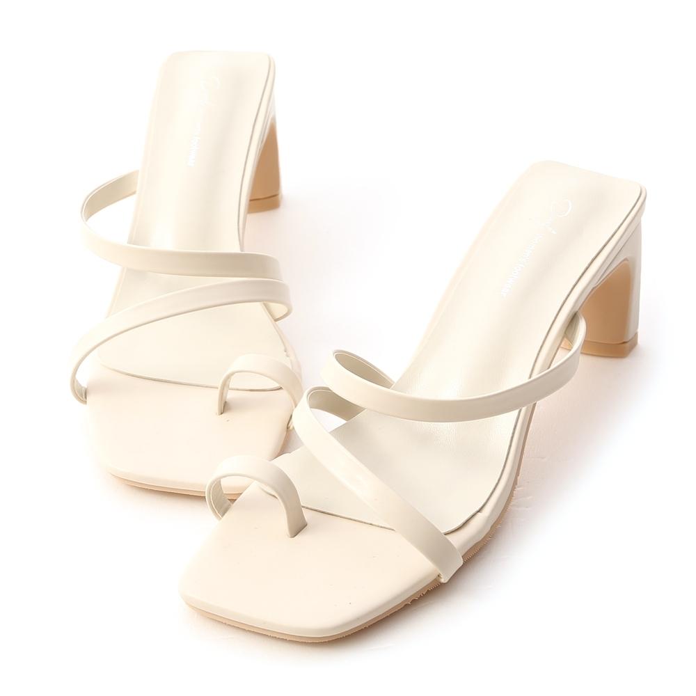 D+AF 陽光季節.套指斜帶扁跟高跟涼鞋*白
