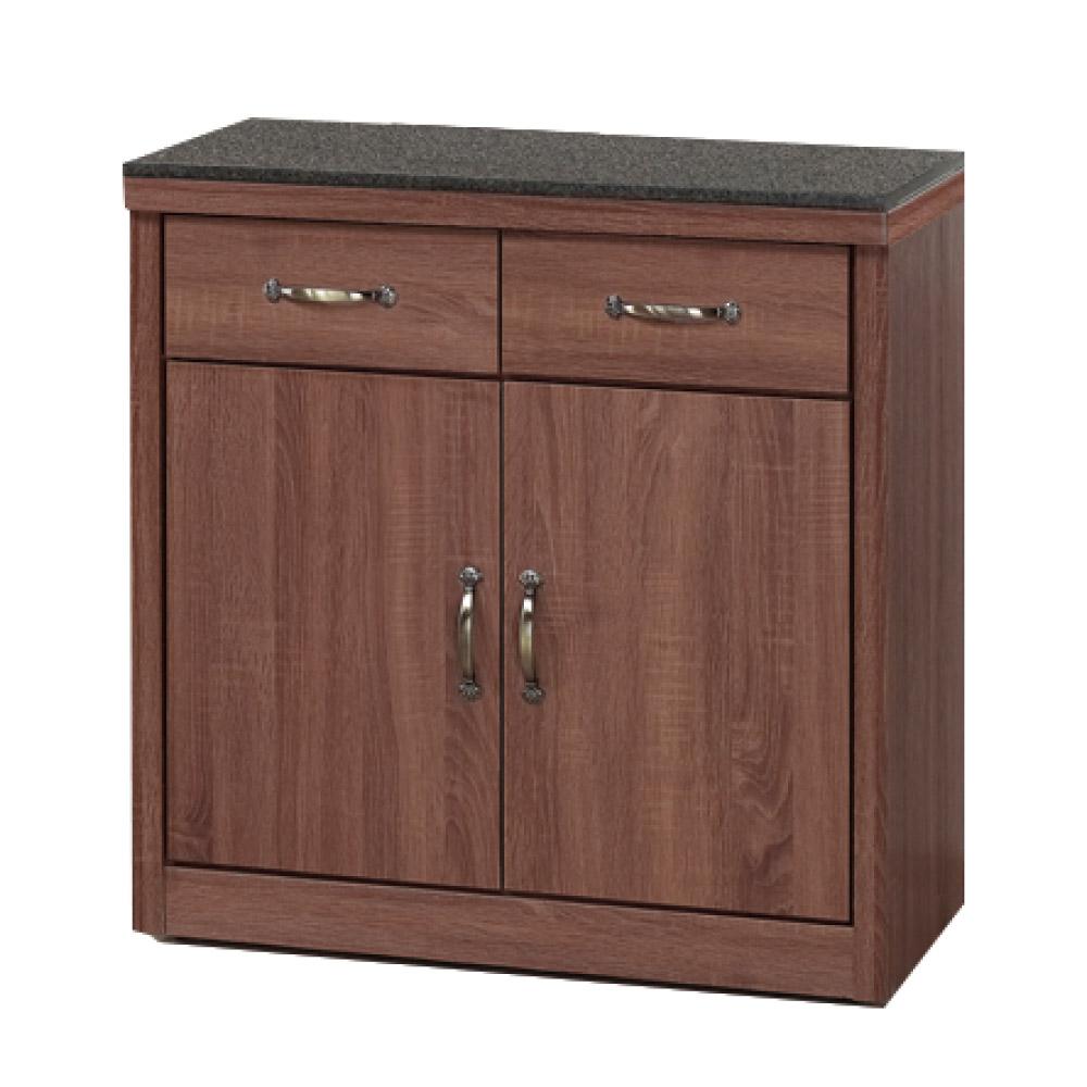 綠活居 明尼達時尚2.7尺黑岩石面餐櫃/收納櫃-81x41x84cm-免組