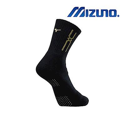 MIZUNO 男運動厚底襪(加大尺寸) 5入 黑X黃 32TX900945