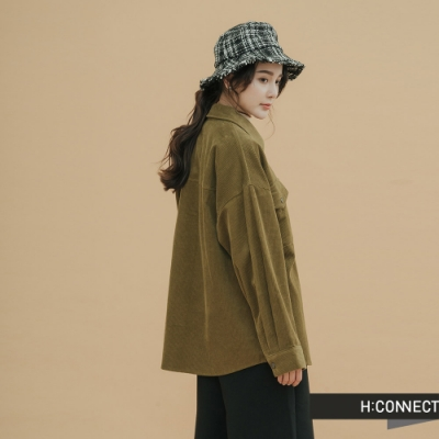 H:CONNECT 韓國品牌 女裝-復古燈芯絨雙口袋外套-綠