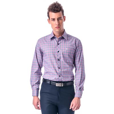 金‧安德森 紅灰相間方格窄版長袖襯衫