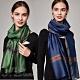 I.Dear-蠶絲混紡經典雙層條紋保暖披肩圍巾絲巾(4色)