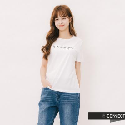 H:CONNECT 韓國品牌 女裝 -草寫標語圓領T-shirt-白
