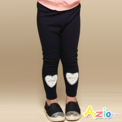 Azio Kids 女童 長褲 愛心蕾絲內搭長褲(藍)