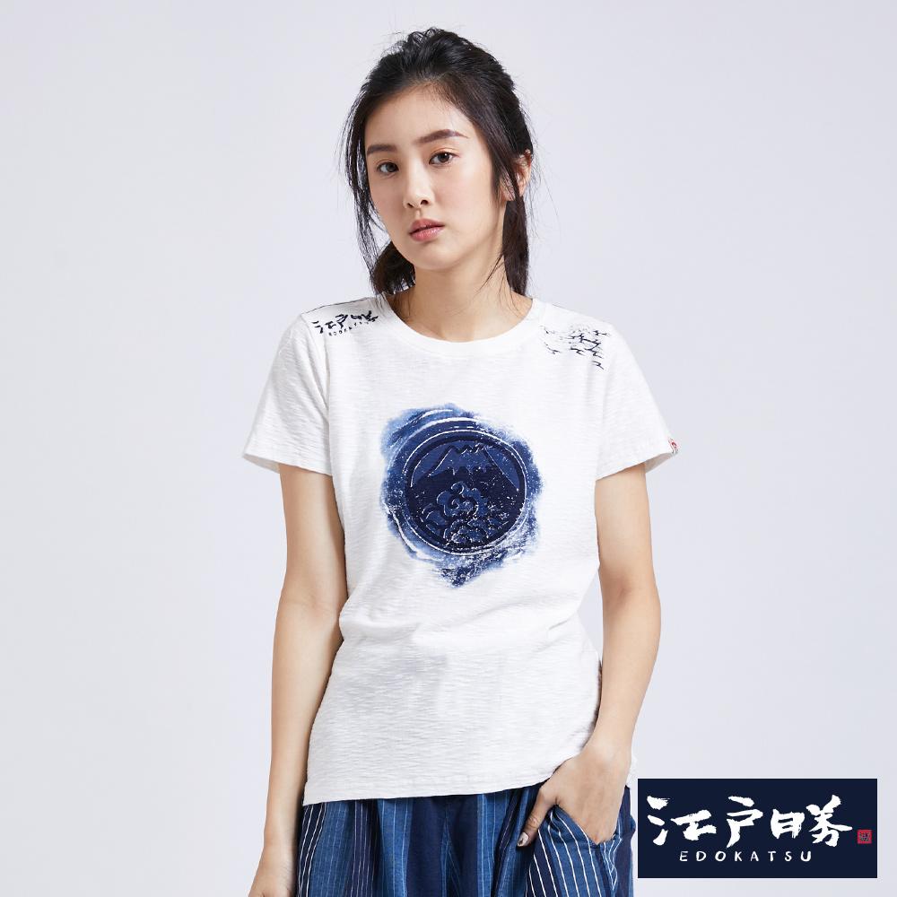 EDO KATSU江戶勝 拔色富士山短袖T恤-女-米白色