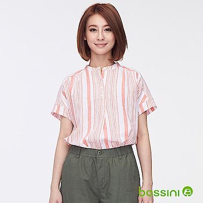 bossini女裝-棉麻開襟短袖罩衫02粉橘
