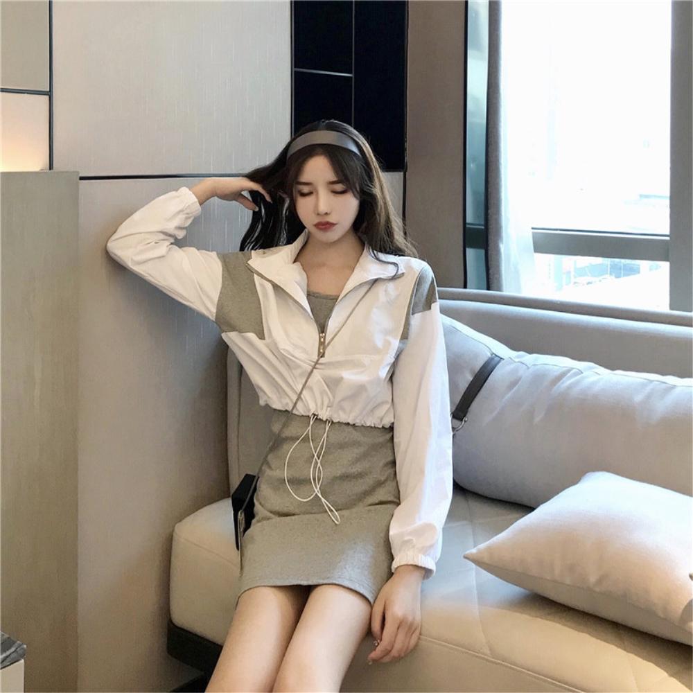 DABI 韓系撞色拉鏈抽繩百搭細肩帶裙套裝長袖裙裝