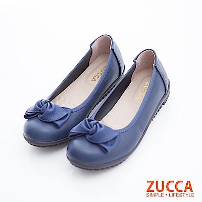 ZUCCA-扭結朵結皮革低跟鞋-藍-z6707be