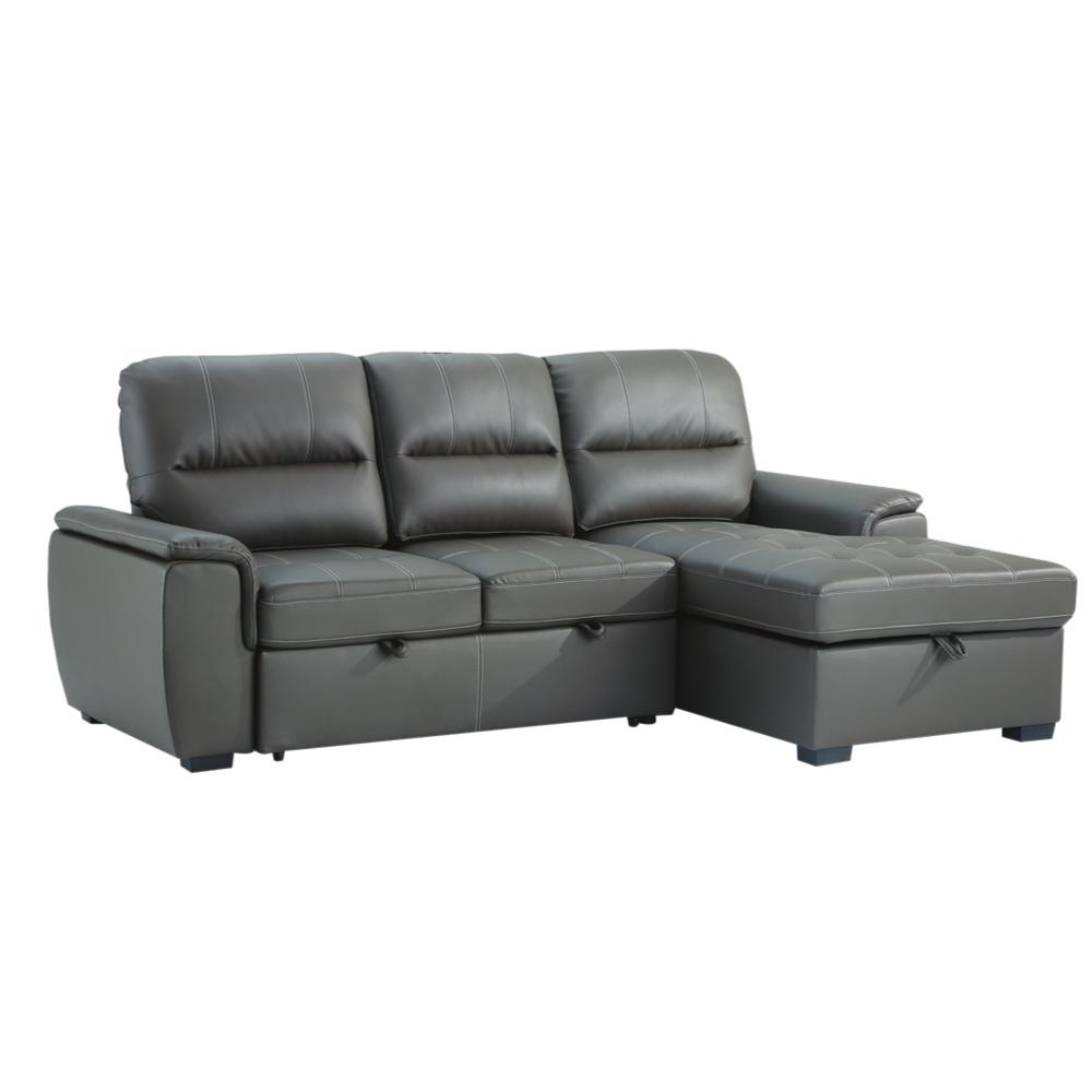文創集 馬文 時尚咖透氣皮革多功能L型沙發/沙發床(左&右二向可選+拉合式機能設計)-246x160x101cm免組