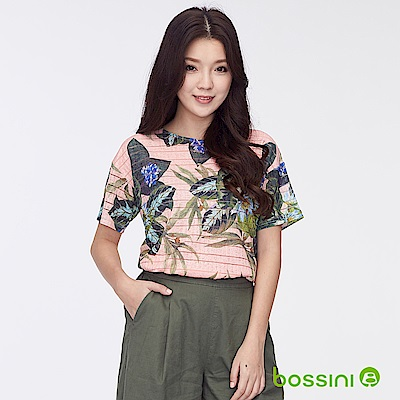 bossini女裝-圓領短袖印花上衣-森林淺駝