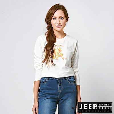 JEEP 女裝 簡約3D立體圖騰長袖TEE -白色