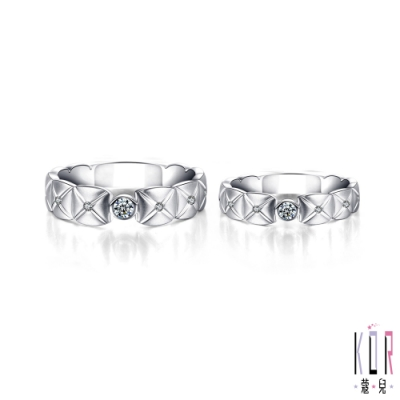 K OR蔻兒 典藏幸福鑽石/白鋼成對戒指